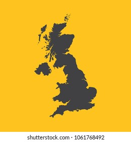 United Kingdom,Great Britain,UK,GB  black map,border on orange background. Vector illustration.