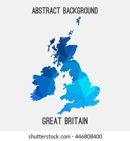 United Kingdom,Great Britain,UK,GB map in geometric polygonal,mosaic style.Abstract tessellation,modern design background. Vector illustration EPS8