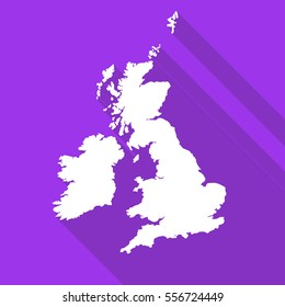 United Kingdom,Great Britain,UK,GB white map,border flat simple style with long shadow on purple background