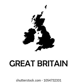 United Kingdom,UK,Great Britain black map,border