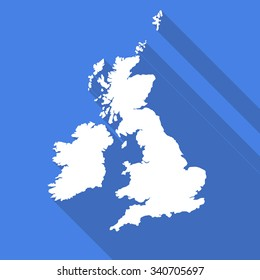 United Kingdom,UK,Great Britain map flat simple style with long shadow.