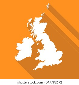 United Kingdom,UK,Great Britian white map,border flat simple style with long shadow on orange background