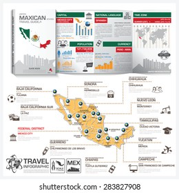 United Mexican States Travel Guide Book Business Info graphic With Map Vector Design Template