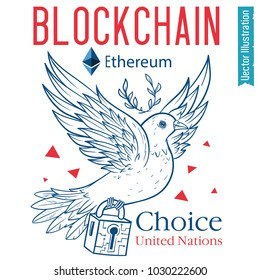 United Nations chose the blockchain etherium. Dove of the world bears the security lock with crypto currency. News, banner, advertisement etherium. Isolated vector illustration on white background.