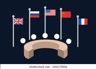 United Nations Security council - five permanent member states and countries ( Great Britain, Russia, USA, China, France) are meeting around round table to achieve peace. Vector illustration