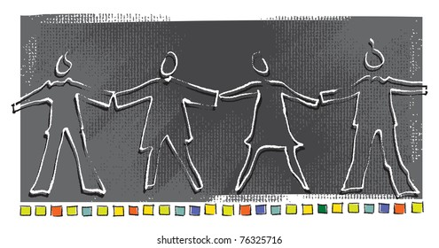 United People concept, simple linear symbolic drawing, vector
