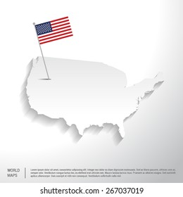 United state of America flag showing on world map. vector illustration