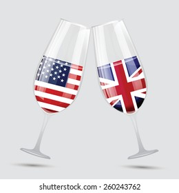 United state of America and Great bertain UK flag friendship wine glass vector illustration