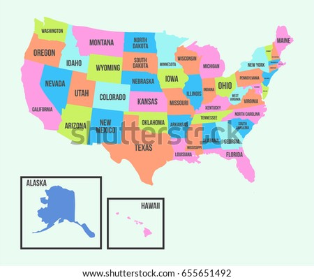 United State America Map City Name Stock Vector Royalty Free