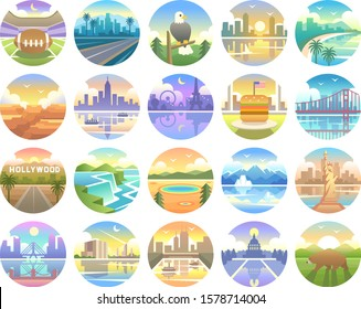 united state of america travel icons. Landmark Global Travel And Journey USA Vector Design Template. illustration