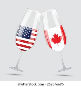 United state of America USA and Canada friendship flag wine glass vector illustration