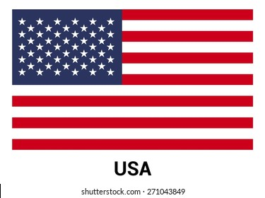 United State of America USA flag isolated vector in official colors and Proportion Correctly. country's name label in bottom