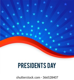 United State of American flag color waves with stars for Presidents Day celebrations.