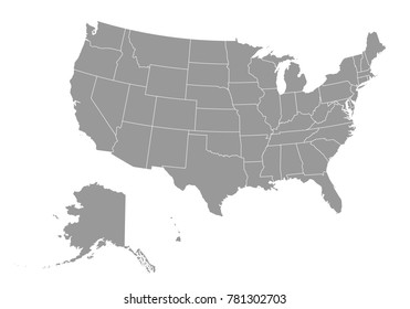 United state of american map. High detailed map of usa on white background. Vector illustration eps 10.