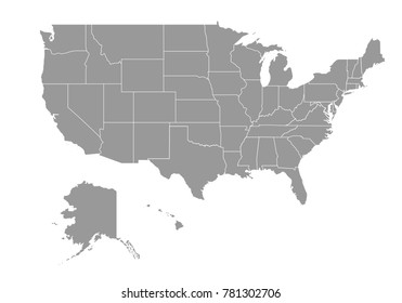 United state of american map. High detailed map of United state of american on white background. Vector illustration eps 10.