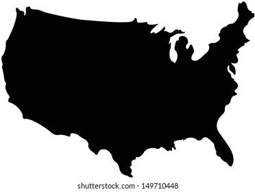 United Stated map in silhouette version
