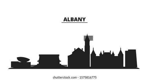 United States, Albany city skyline isolated vector illustration. United States, Albany travel black cityscape
