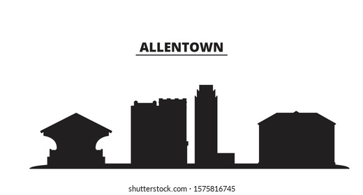 United States, Allentown city skyline isolated vector illustration. United States, Allentown travel black cityscape