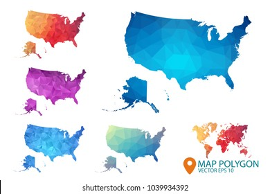 United States of Americ and Alaska Map - Set USA of geometric rumpled triangular low poly style gradient graphic background , Map world polygonal design for your . Vector illustration eps 10.