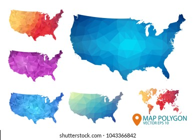 United States of Americ Map - Set USA of geometric rumpled triangular low poly style gradient graphic background , Map world polygonal design for your . Vector illustration eps 10.