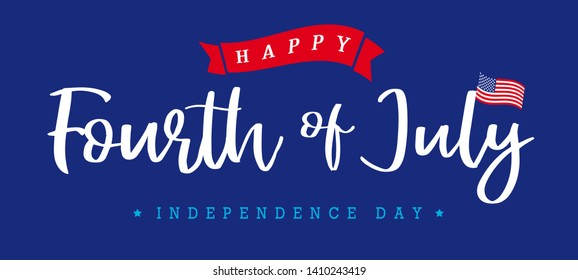 United States of America 4th of July, Independence Day vintage logo badge Illustration. Calligraphic Fourth of July vector typography for banner or poster design