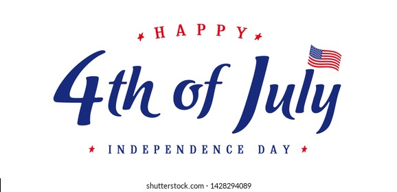 United States of America 4th of July, Independence Day vintage logo. Calligraphic Fourth of July typography design for banner or poster. Vector Illustration