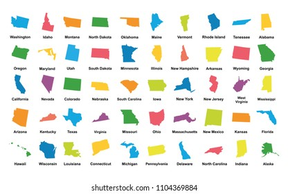 United States of America. 50 States. Vector illustration