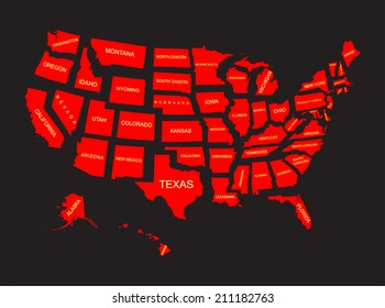 United States of America 50 states vector map isolated on black background. American separated red country silhouette illustration.