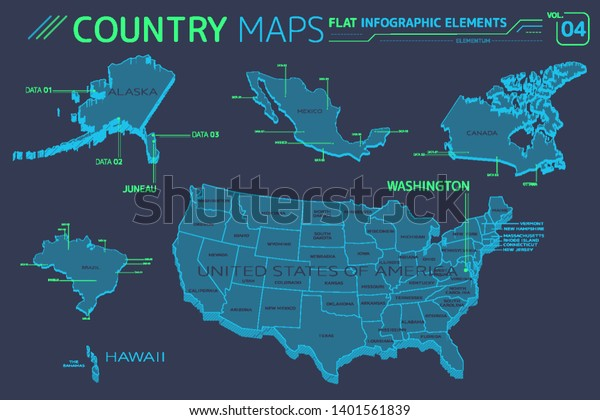 Map Of America Hawaii And Mexico.United States America Alaska Hawaii Mexico Stock Vector