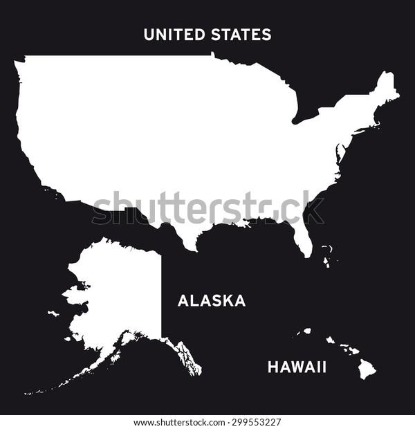 United States America Alaska Hawaii Map Stock Vector ...