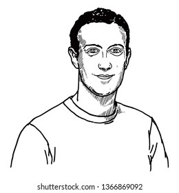 UNITED STATES OF AMERICA, April 5, 2019: Caricature of Facebook founder Mark Zuckerberg. Hand drawn vector illustration.
