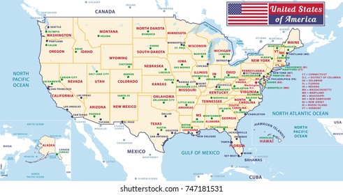 States Capitals Major Cities United States Stockillustration ...