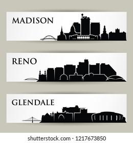 United States of America cities skylines - USA - Madison, Wisconsin, Reno, Nevada, Glendale, Arizona - isolated vector illustration