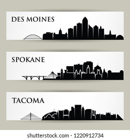 United States of America cities skylines - USA - Des Moines, Spokane, Tacoma, Iowa, Washington - isolated vector illustration