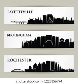 United States of America cities skylines - Fayetteville, Birmingham, Rochester, North Carolina, Alabama, New York - isolated vector illustration
