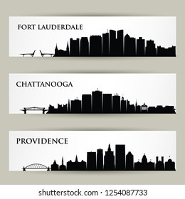 United States of America cities skylines - USA, Providence, Rhode Island, Fort Lauderdale, Florida, Chattanooga, Tennessee - isolated vector illustration