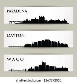United States of America cities skylines - Pasadena, California, Dayton, Ohio, Waco, Texas - isolated vector illustration