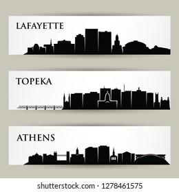 United States of America cities skylines - Lafayette, Louisiana, Topeka, Kansas, Athens, Georgia - isolated vector illustration