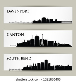 United States of America cities skylines - Davenport, Canton, South Bend, Iowa, Indiana, Ohio - isolated vector illustration
