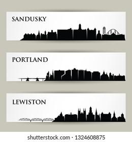 United States of America cities skylines - Sandusky, Ohio, Portland, Maine, Lewiston - isolated vector illustration