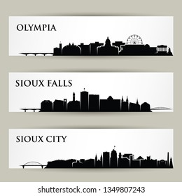 United States of America cities skylines - Olympia, Washington, Sioux City, Iowa, Sioux Falls, South Dakota - isolated vector illustration
