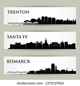 United States of America cities skylines - Trenton, New Jersey, Santa Fe, New Mexico, Bismarck, North Dakota - USA -isolated vector illustration