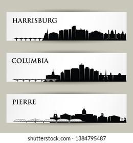 United States of America cities skylines - Harrisburg, Columbia, Pierre, Pennsylvania, South Carolina, South Dakota - isolated vector illustration
