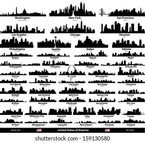 United States of America cities skylines vector set