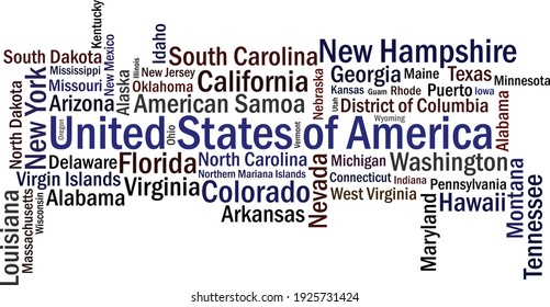 United States of America Cities vector typography