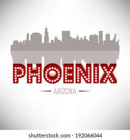 United States of America cities/states vector illustration. Phoenix, Arizona skyline design.