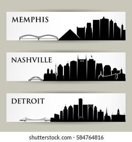 United States of America city skylines - vector illustration