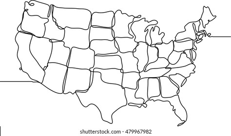 United States of America continuous line drawing