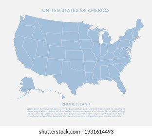 United states of America country - high detailed illustration map. Blank similar USA map isolated on white background. Vector template state Rhode Island for website, cover, pattern, infographics.
