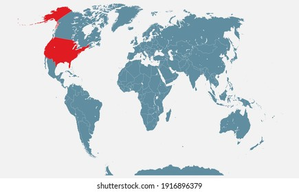 United States of America country in the world map vector isolated on background. USA template for pattern, report, infographics, banner, backdrop. Worldwide map templates, patterns.